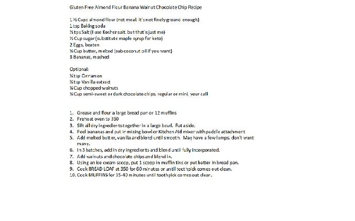 Gluten Free Almond Flour Banana Walnut Chocolate Chip Recipe