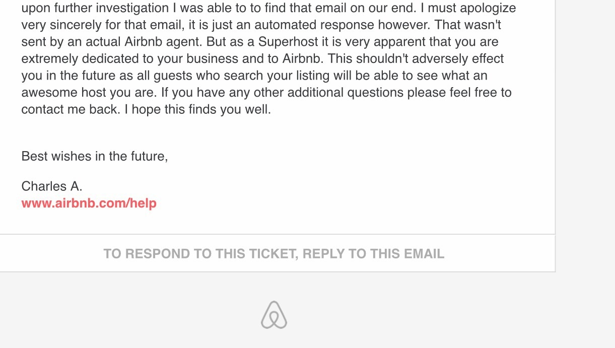 Email from Airbnb removed from my personal email inbox hours later