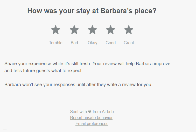 AirBnB explaining star rating to guests when writing reviews - We