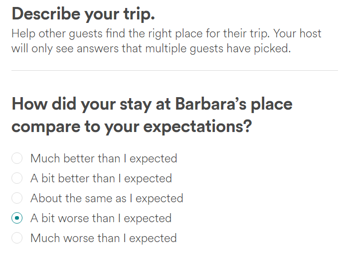 AirBnB explaining star rating to guests when writing reviews
